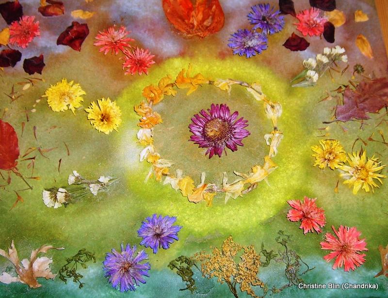 Astral aquarelle et fleurs sechees 53 x 43 cm