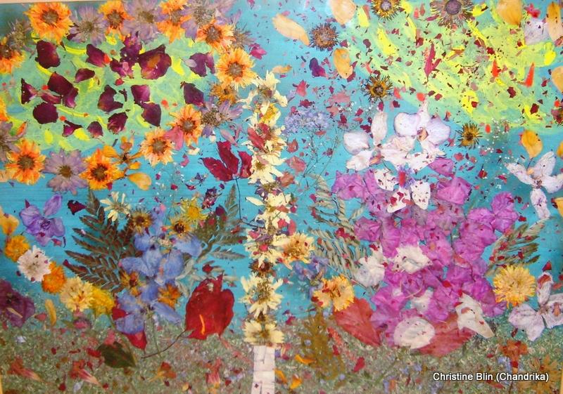Aurore, collection particuliere aquarelle et fleurs sechees 50 x 60 cm