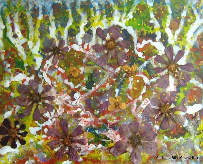 Forêt - Acrylique et fleurs séchées - 53 x 43 cm