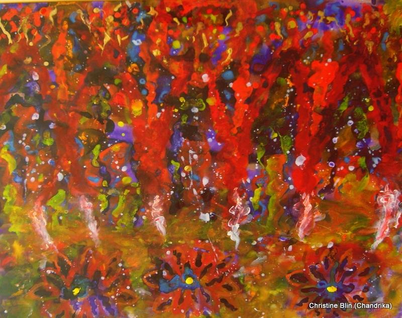 Incendie acrylique 109 x 74 5 cm
