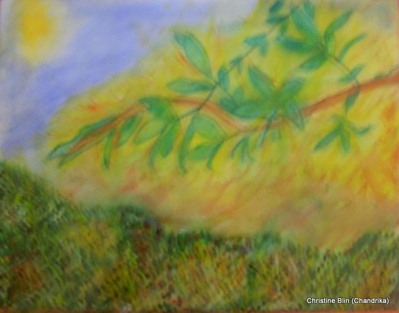 L aube tendre aquarelle 45 x 45 cm