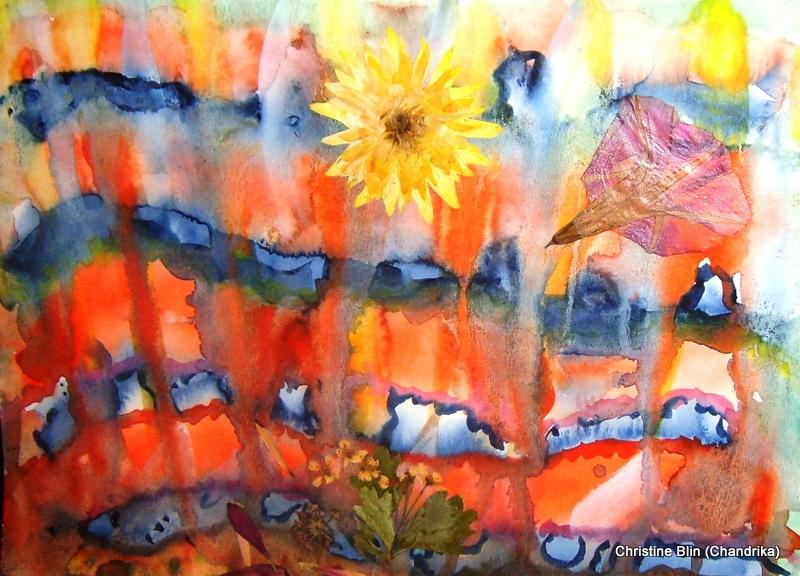 La coulée - Aquarelle et végétaux - 24 x 32 cm