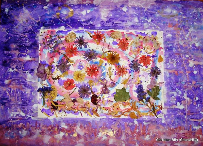 Mandala - Aquarelle et fleurs sechées - Collection particulière
